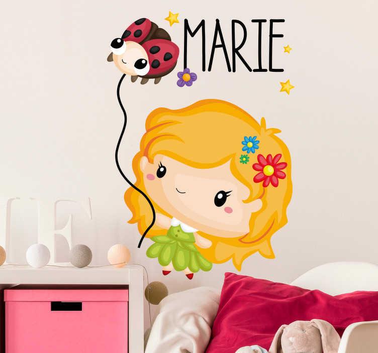 TenVinilo. Vinilo infantil Mariquita dibujo. Pegatina personalizada para habitación infantil formada por la ilustración de un niña y una pequeña mariquita. Descuentos para nuevos usuarios.