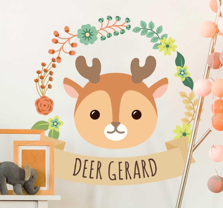 TenVinilo. Vinilo infantil Dibujo bebé ciervo. Pegatina adhesiva para personalizar con el nombre que nos indiques, formada por la ilustración de un bebé ciervo. Fácil aplicación y sin burbujas.