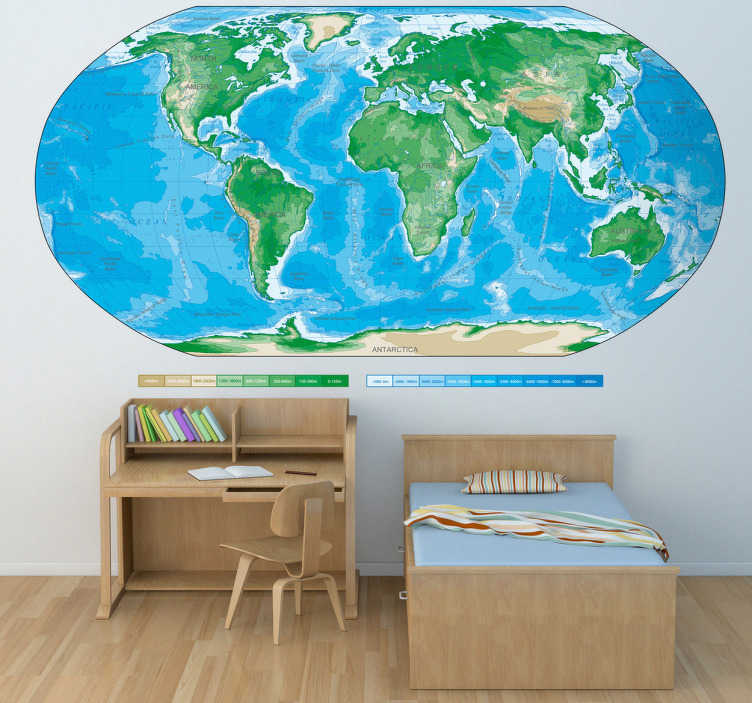 TenStickers. Wandtattoo geographische Weltkarte. Dekorieren Sie Ihr Zuhause mit dieser klassischen Weltkarte als Wandtattoo. Mit Tiefen und Höhenunterschieden