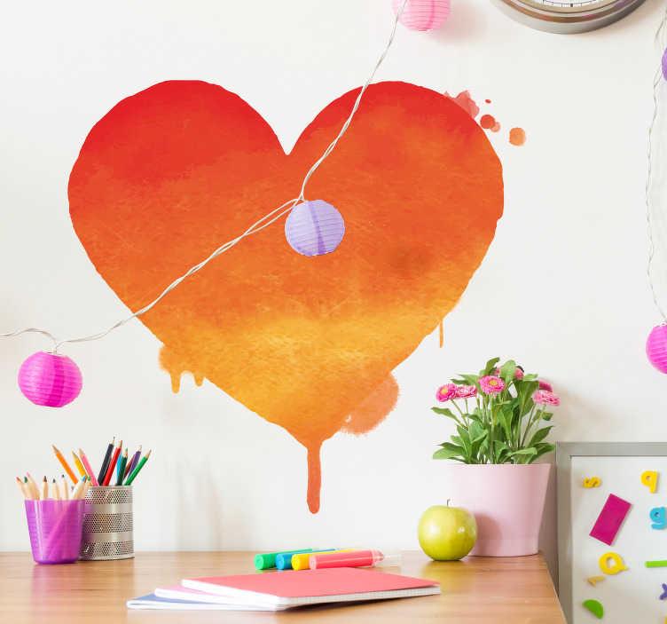 TenVinilo. Vinilo San Valentín Dibujo corazón urbano. Vinilo adhesivo para San Valentín formado por el dibujo de un corazón en tonos anaranjados. Promociones Exclusivas vía e-mail.