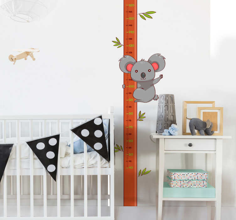 TenStickers. Koala Height Chart Wall Sticker. Decorate your child´s bedroom with this fantastic koala themed height chart wall sticker, perfect for all those growers! Anti-bubble vinyl.