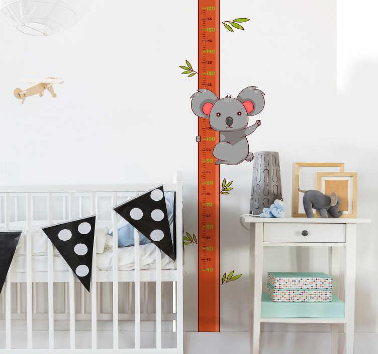 TenVinilo. Vinilo infantil Medidor dibujo koala. Medidor de altura adhesivo para habitación infantil formado por el diseño de un caña de bambú y un koala colgado de esta. Envío Express en 24/48h.