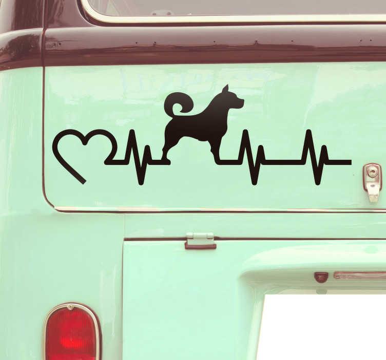TenVinilo. Pegatina para coche Electro perro. Pegatina para vehículo formada por el diseño de un electrocardiograma acompañado de la ilustración de un perro. Atención al Cliente Personalizada.