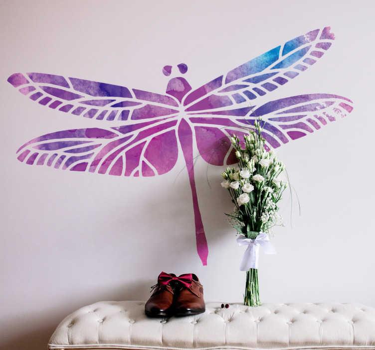 TenVinilo. Vinilo insecto  Dibujo libelula. Original y pegatina adhesiva formada por la ilustración de un libélula en tonos morados y azules. Descuentos para nuevos usuarios.