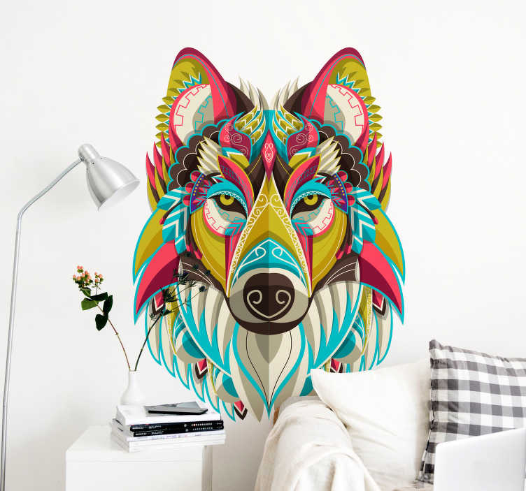 TenStickers. Tribal Wolf Living Room Wall Decor. Pay tribute to the might and glory of the wolf with this fantastically colourful living room wall art sticker! Available in 50 colours.