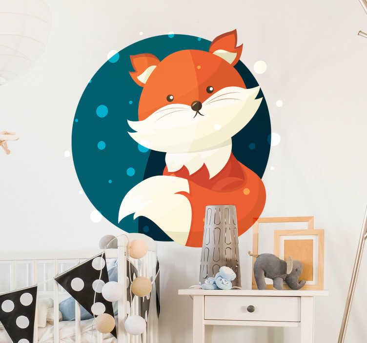TenVinilo. Vinilo animal salvaje Dibujo de zorro lindo. Original pegatina adhesiva redonda para habitación infantil formada por la ilustración de un tierno zorro. Descuentos para nuevos usuarios.