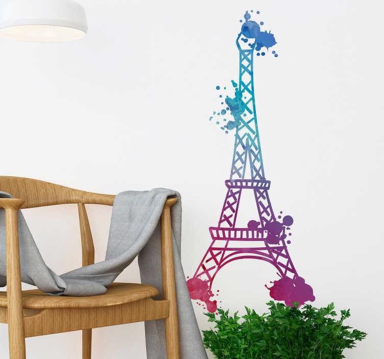 TenVinilo. Vinilo pared Torre Eiffel acuarela. Vinilo formado por la silueta de la Torre Eiffel de París simulando una textura acuarela en tonos azules y morados. Vinilos Personalizados a medida.