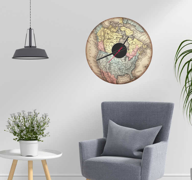 TenStickers. Map of North America Clock Wall Sticker. Add a stunningly vintage wall clock sticker to your home with this fantastic piece of American inspired room decor! Available in 50 colours.