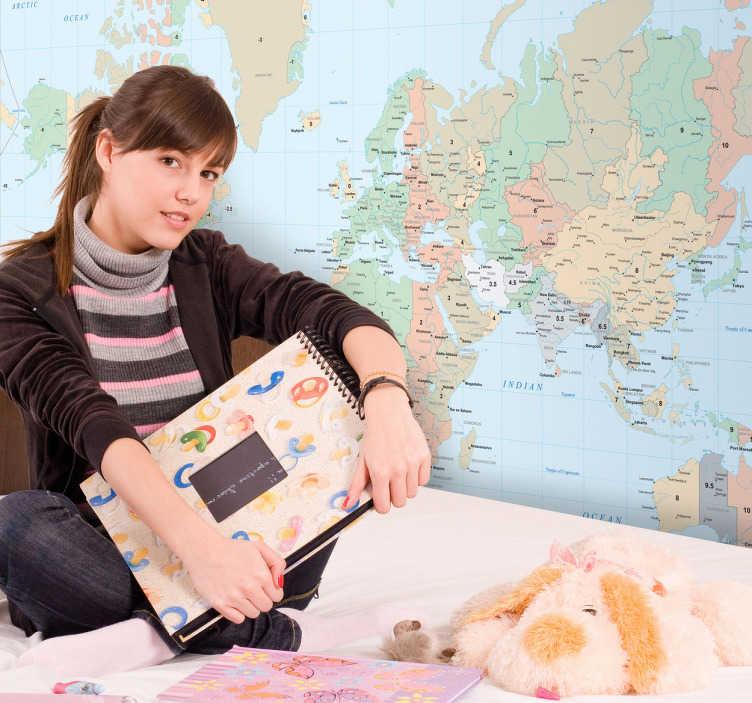 TenStickers. Adesivo bambini mappa fusi orari. Sticker decorativo raffigurante una dettagliata mappa del mondo sulla quale sono segnati i differenti fusi orari. Nomi e testi sono in lingua inglese.