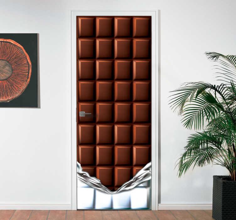 TenStickers. Okleina na drzwi Tabliczka czekolady 3D. Naklejki na drzwi lub fototapety ścienne w formie tabliczki czekolady to świetny pomysł na dekorowanie restauracji lub innego lokalu gastronomicznego.