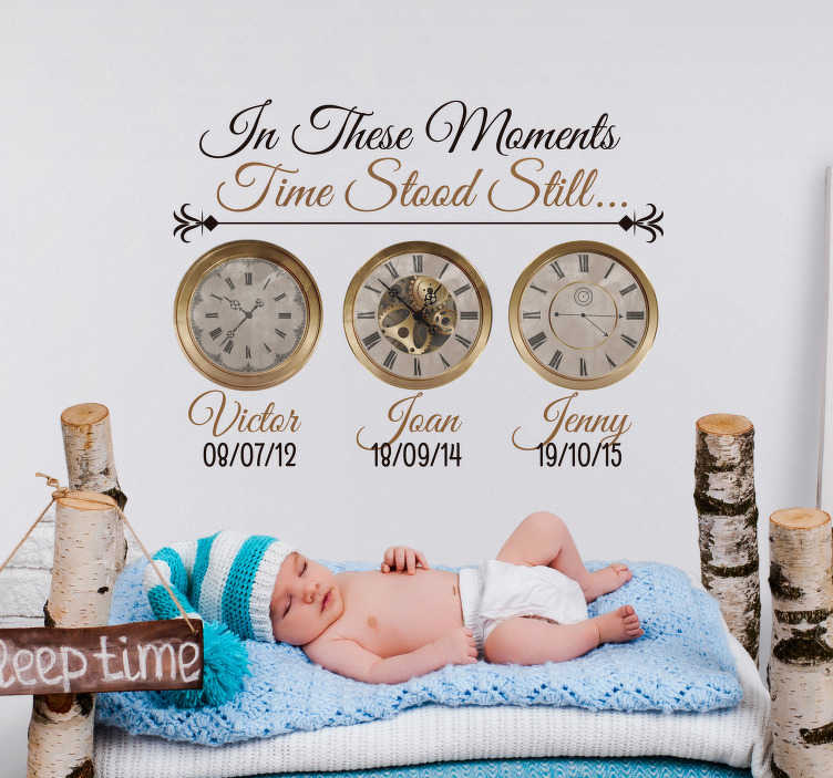 TenStickers. Clock Births Customisable Wall Sticker. Mark the most special moments in your life with this fantastic customisable clock sticker, depicting the times at which loved ones were born!