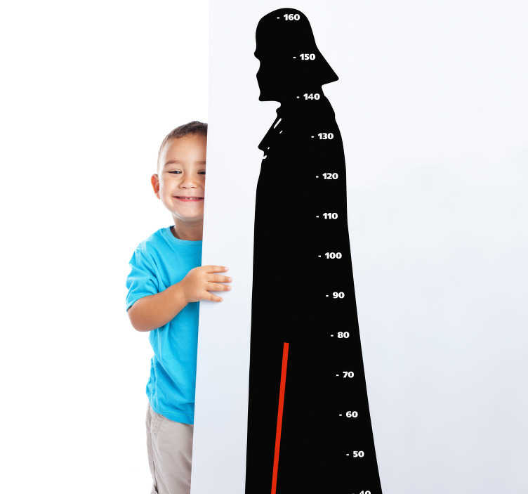 TenStickers. Naklejka na ścianę Miarka wzrostu Darth Vader. Spraw radość dziecku darując mu naklejkę miarka wzrostu z Darth Vaderem. To świetny pomysł na dekorację ściany. Promocja się kończy!