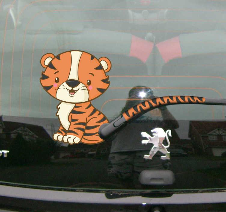 TenVinilo. Pegatina para coche Tigre y cola. Original pegatina adhesiva para ventana trasera y parabrisas con el diseño de un gracioso tigre. Vinilos Personalizados a medida.
