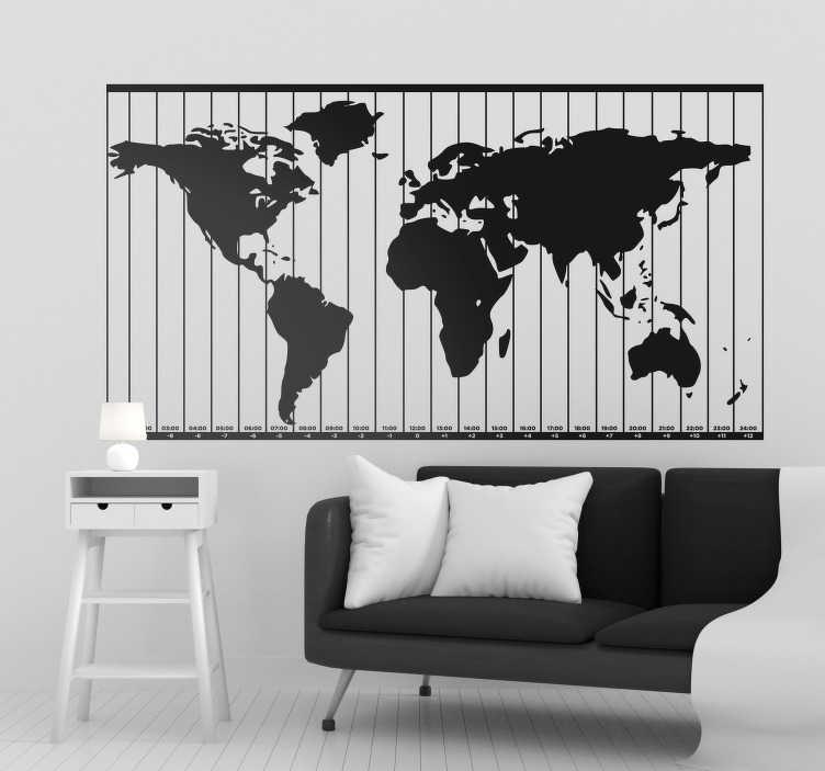 TenStickers. Autocolante mundo zonas horárias. Autocolantes decorativos de parede ideais para qualquer divisão da sua casa. Um processo muito fácil e rápido para dar um novo look às suas paredes.