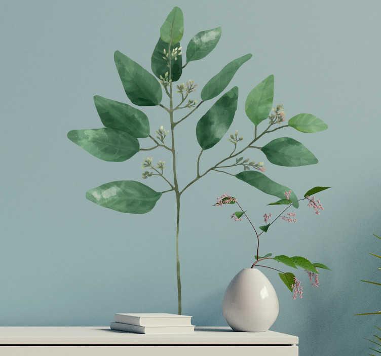 TenVinilo. Vinilo pared acuarela eucalipto. Original pegatina adhesiva formada por la ilustración de un eucalipto en textura acuarela. Vinilos Personalizados a medida.