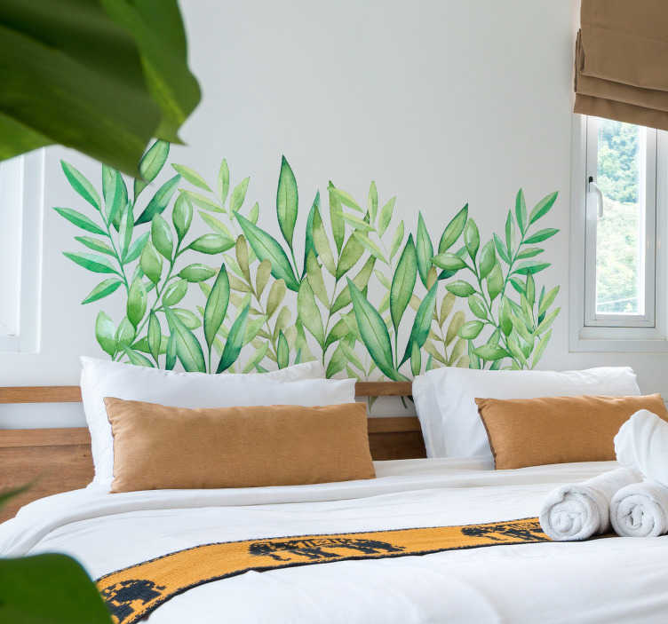 TenStickers. Leafy Headboard Wall sticker for Bedroom. Bring some life back into your bedroom with this natural looking leafy headboard wall sticker. Choose from a wide variety of sizes!
