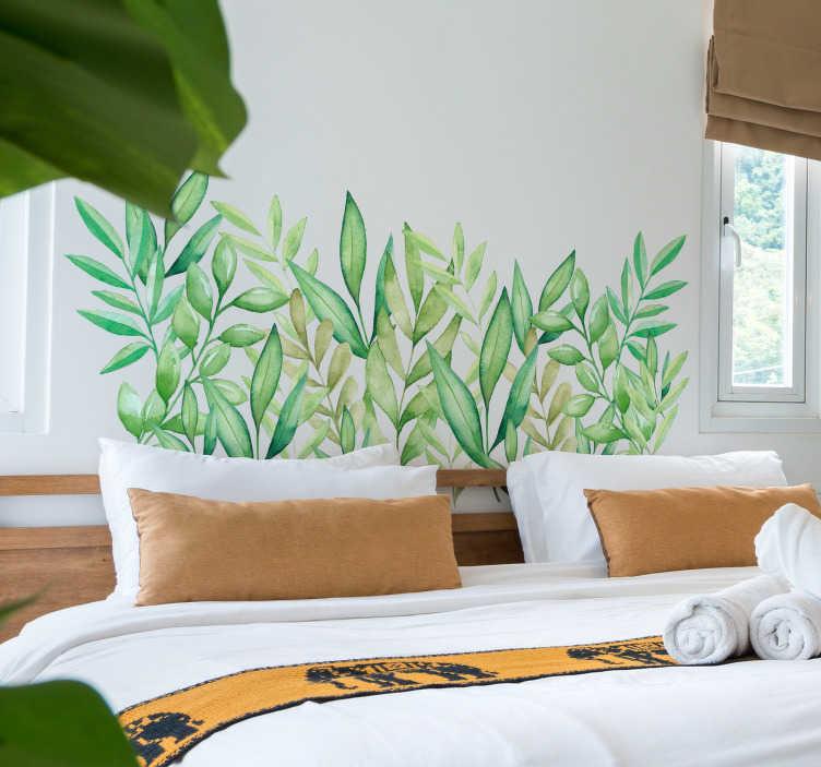 TenVinilo. Vinilo cabecero hojas de eucalipto. Original cabecero adhesivo para habitación de matrimonio formado por el diseño de hojas de eucalipto. +10.000 Opiniones satisfactorias.