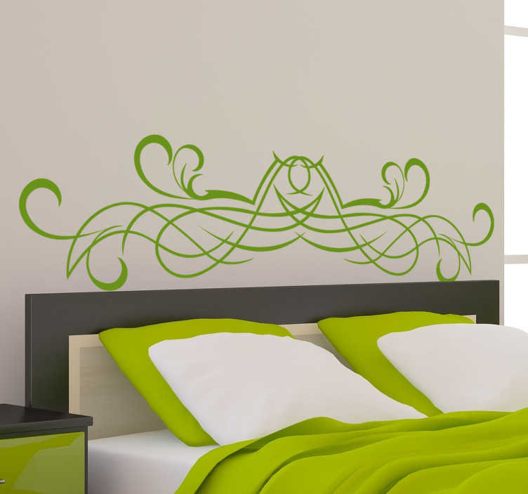 TenStickers. Symmetrical Swirl Headboard Sticker. Headboard - Original and distinctive decoration feature above your bed. Interlocking design with multiple strokes.