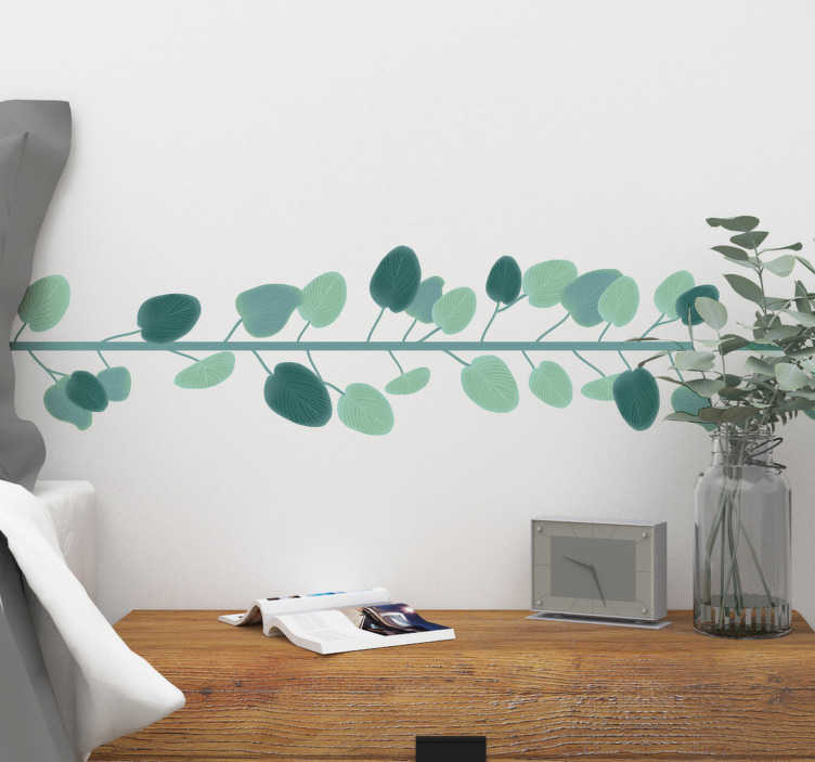 TenVinilo. Vinilo pared Cenefa hojas de eucalipto. Cenefa adhesiva formada por un rama con hojas de eucalipto a su alrededor,  ideal para decorar un salón o un dormitorio. Envío Express en 24/48h.