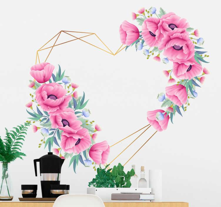 TenStickers. Sticker Original Coeur Feuilles Eucalyptus. Pour déclarer votre amour à l'élu de votre coeur peu importe l'occasion, ce dessin autocollant mural de coeur en fleurs et feuilles est fait pour vous