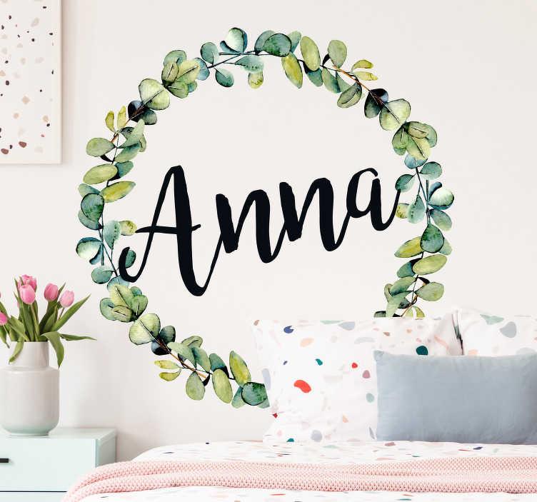 TenStickers. Adesivo porta in vetro nome in eucalipto. Adesivo decorativo per porta con motivo floreale in eucalipto. Facile da applicare, autoadesivo e disponibile in qualsiasi dimensione richiesta.
