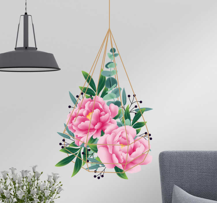 TenVinilo. Vinilo pared Flor eucalipto. Original pegatina adhesiva formada por un macetero colgante con flores de eucalipto en su interior. Promociones Exclusivas vía e-mail.
