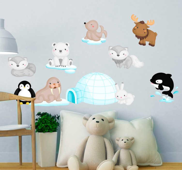 TenStickers. Sticker Illustration Animaux de la banquise. Pour un sticker illustration adorable et rafraîchissant dans la chambre d'enfant, rien de tel que des dessins d'animaux de la banquise !
