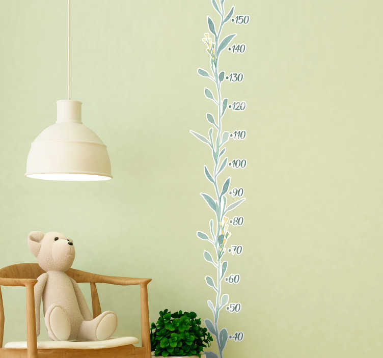 TenStickers. eucalyptus leaves (meter) height chart wall decal. Eucalyptus leaves patterned meter height chart decal for children bedroom space. Easy to apply and available in different sizes.