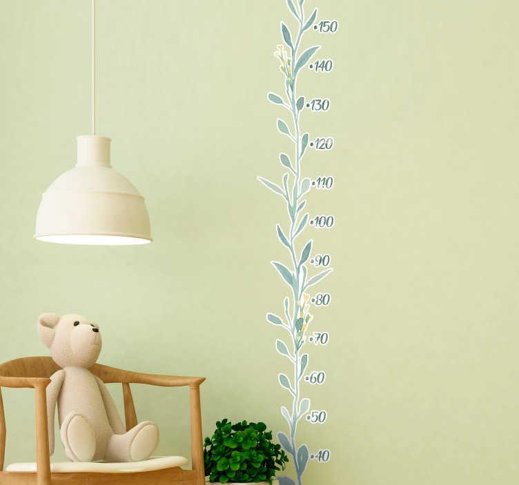 TenVinilo. Vinilo medidor hojas de eucalipto. Original medidor adhesivo para habitación infantil con el diseño de un rama vertical con hojas de eucalipto. Fácil aplicación y sin burbujas.