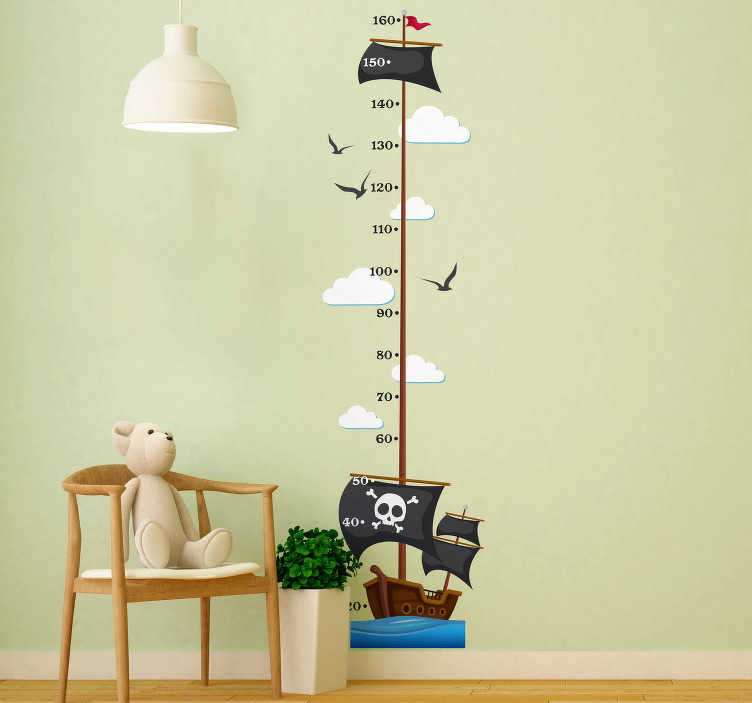 TenStickers. Pirate Ship Height Chart wall stickers for kids. Watch your salty sea dog turn into a mighty, grownup pirate with the epic pirate ship child height chart. Free worldwide delivery available!