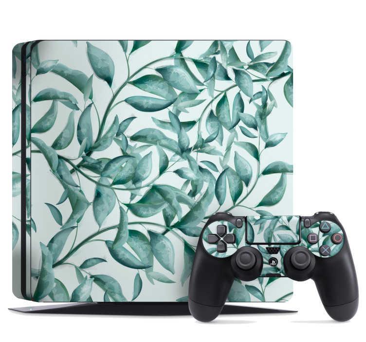 TenVinilo. Vinilo PS4 Hojas de eucalipto. Elegante pegatina para PS4 y controladores con el diseño de unas hojas de eucalipto sobre un fondo de color blanco. Descuentos para nuevos usuarios.