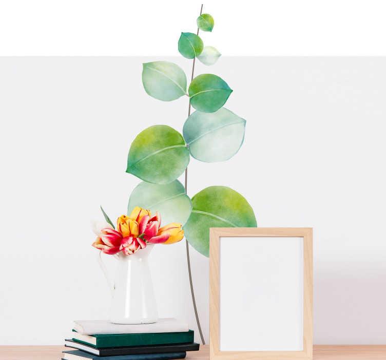 TenStickers. Sticker Plante Eucalyptus. Si vous manquez de plantes dans votre intérieur, ce sticker plante verte de dessin d'eucalyptus sera parfait pour votre salon ou votre chambre