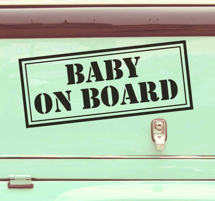 """TenVinilo. Pegatina bebé a bordo confidencial. Pegatina para vehículo con el texto """"Baby on board"""" con un diseño que simula un adhesivo de un documento confidencial. Envío Express en 24/48h."""
