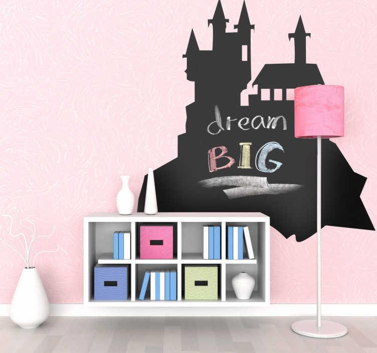 TenStickers. Sticker ardoise château craie. Stickers ardoise à craie en forme de château de l'épouvante.Désormais vos enfants pourront écrire sur vos murs sans crainte.Idée déco simple et pratique.