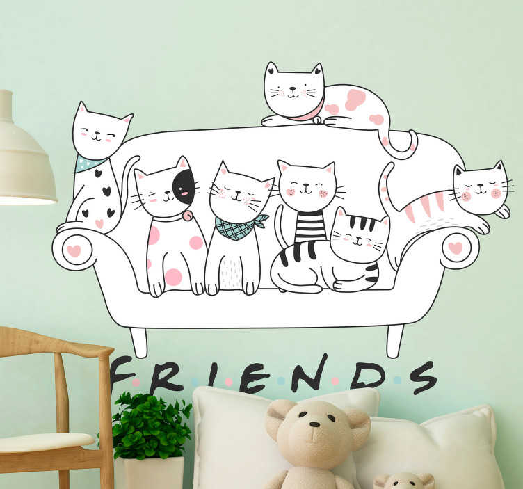 TenStickers. cats pets wall decor. Decorative wall art decal with the design of set of cats pets sitting on a sofa. It depict an american tv series '' friend''.