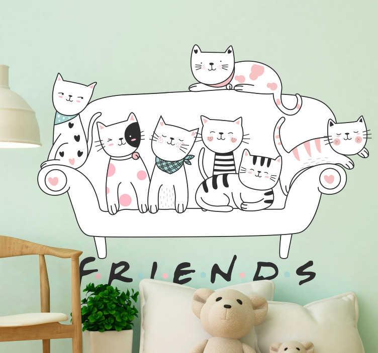 """TenVinilo. Vinilo pared gatos animales de compañía. Vinilo que simula la estampa de una serie estadounidense, formado por un sofá, siete gatos y la palabra """"Friends"""". Promociones Exclusivas vía e-mail."""