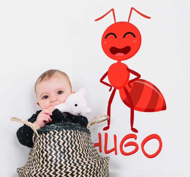 TenVinilo. Vinilo habitación infantil hormiga con nombre. Original pegatina adhesiva formada por la ilustración de una hormiga acompañada del nombre que nos indiques. Precios imbatibles.