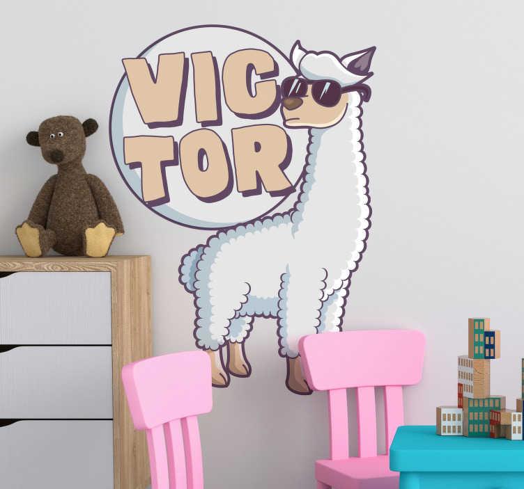 TenStickers. Naklejka na ścianę dla dzieci lama zwierzęta dla dzieci. Naklejka na ścianę lama przedstawiająca to zwierzę w zabawnym charakterze, z okularami na nosie! Idealna dekoracja do pokoju dziecięcego!