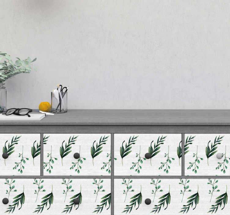 TenVinilo. Vinilo para mueble patrones eucalipto. Original pegatina formada por un patrón de eucaliptos ideal para decorar paredes, renovar muebles y crear cenefas. Atención al Cliente Personalizada.