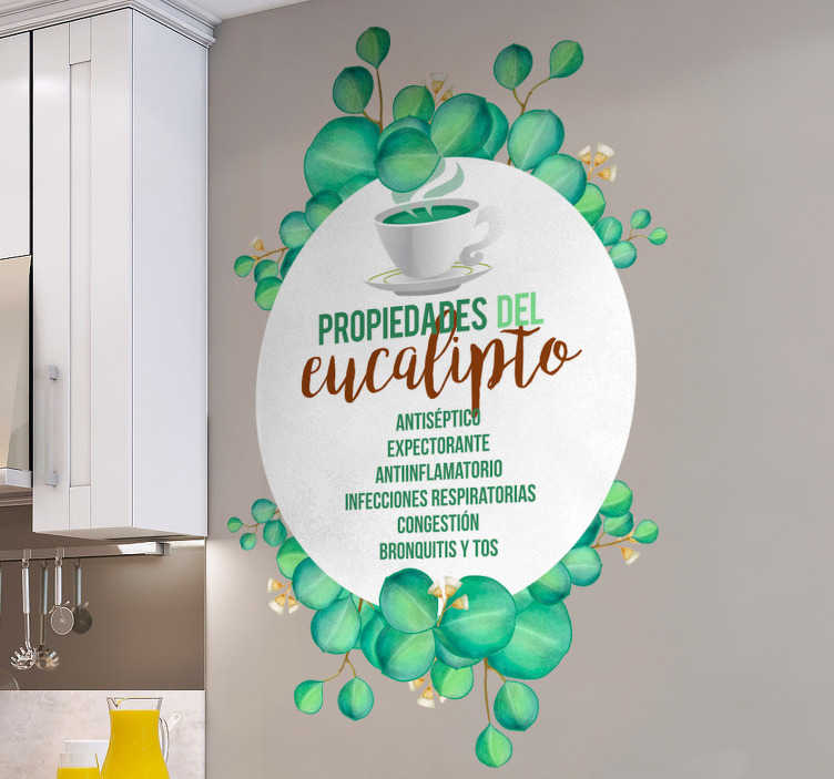 TenVinilo. Vinilo frase propiedades eucalipto. Fantástica pegatina adhesiva en tonos verdes y marrones, formada por las propiedades del eucalipto. Fácil aplicación y sin burbujas.