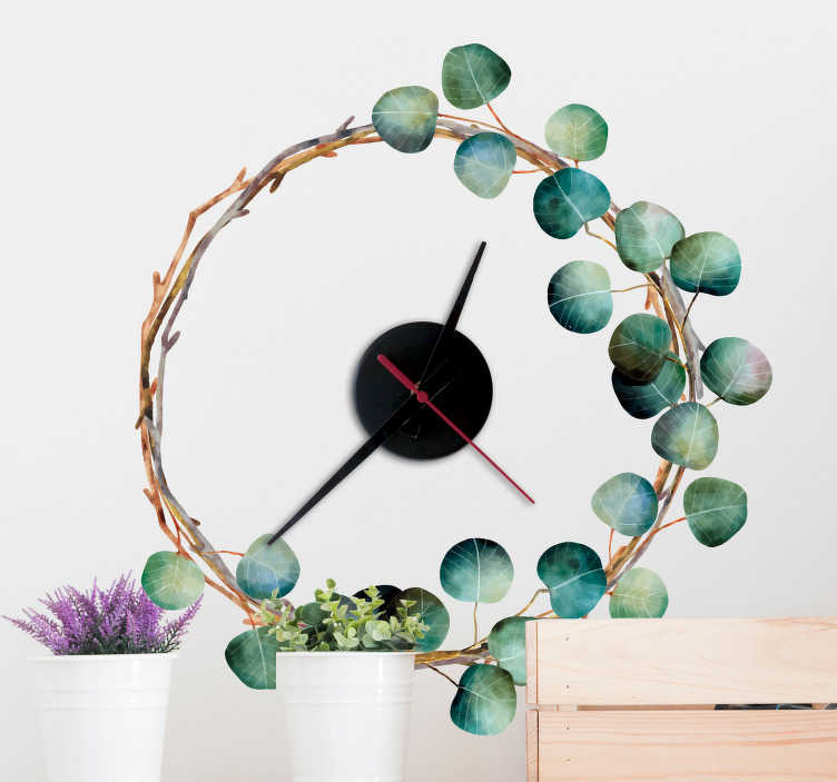 TenVinilo. Reloj vinilo hojas eucalipto. Reloj adhesivo creado a partir del diseño de una rama colocada formando una redonda, la cual está decorada con hojas de eucalipto. Precios imbatibles.