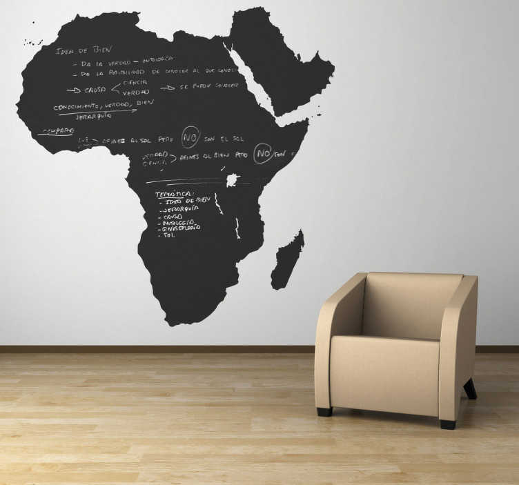 TenStickers. Africa Blackboard Sticker. Blackboard Stickers - Silhouette of the continent of Africa. This chalkboard wall sticker is ideal for decorating any room, and practical for writing notes and ideas. Personalise your room with this African design that you can draw on, comes with free chalk!