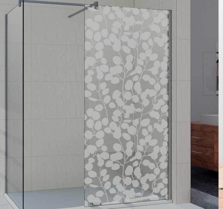 TenVinilo. Vinilo mampara ducha silueta eucalipto. Fantástico vinilo para mampara de ducha translúcido formado por un diseño de hojas de eucalipto. +10.000 Opiniones satisfactorias.