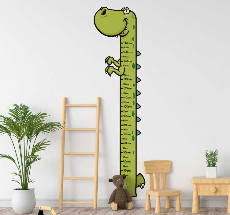 TenStickers. Autocolantes para casa dinossauro medidor. Vinis decorativos de dragões e dinossauros coloridos e divertidos. 50 cores disponíveis. Material resistente e duradouro.