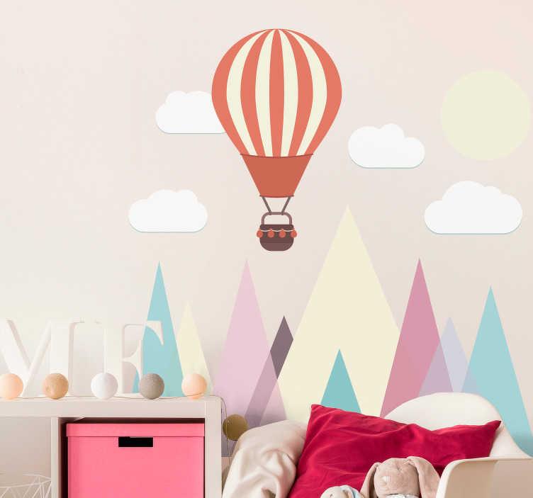 TenVinilo. Vinilo infantil paisaje geométrico minimalista. Pegatina infantil de estilo minimalista formada por un seguido de montañas, acompañadas de un globo aerostático. +50 Colores Disponibles.