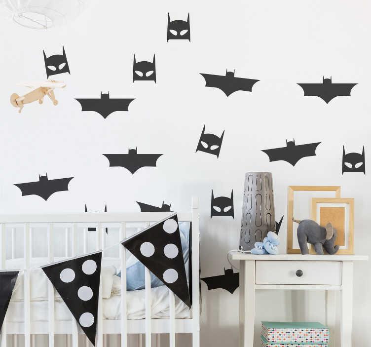 TenVinilo. Vinilo infantil patrón hombre murcielago. Pegatina adhesiva para habitación infantil formada por un patrón de 8 murciélagos y de otras 8 mascaras de Batman. Descuentos para nuevos usuarios.