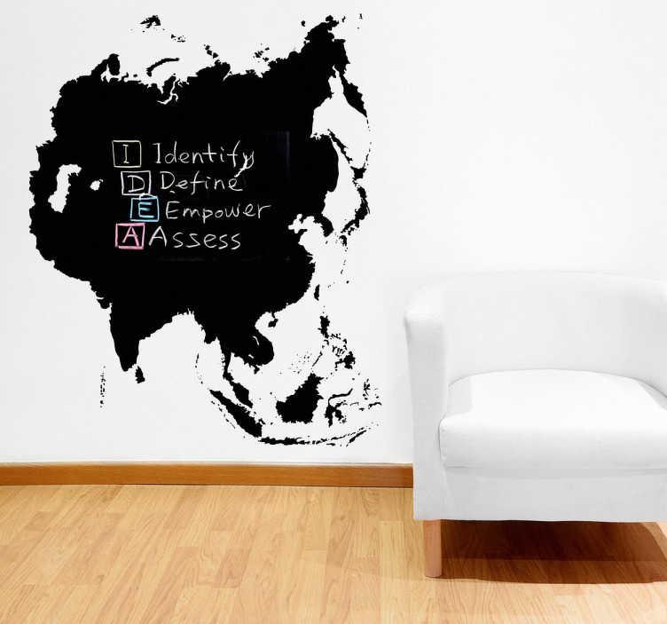 TenStickers. Asien Tafelfolie. China, Russland, Indien, Japan.. Mit dieser Tafelfolie in Form von Asien können Sie Ihre Wand zum Hingucker machen.
