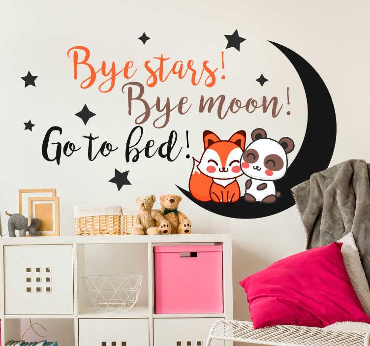 TenVinilo. Vinilo infantil bye stars bye moon. Vinilo para decorar una habitación infantil con un dibujo divertido y un texto que hará más fácil que tus hijos se duerman puntualmente.