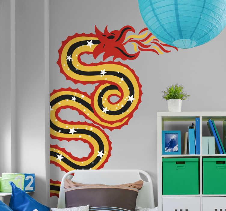 TenVinilo. Vinilo para esquina dragón. Vinilo adhesivo ideal para darle un toque de color y fuerza a la estancia, formado por el diseño de un dragón Oriental. Envío Express en 24/48h.