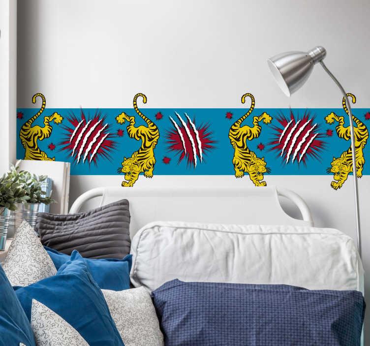 TenVinilo. Cenefa decorativa infantil de tigre con rasguño. Cenefa infantil de tigres y rasguños perfecta para decorar de forma sutil y sencilla la habitación de tu pequeño ¡Elige las medidas!